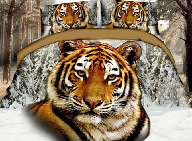 Imperatorial 3D Tiger Printed 4-Piece Polyester Duvet Cover Sets