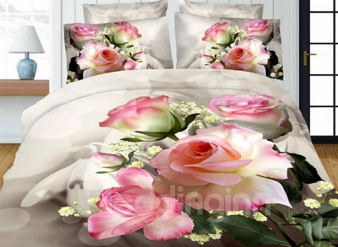 Likable Pink Rose Printed 4-Piece Polyester Duvet Cover Sets