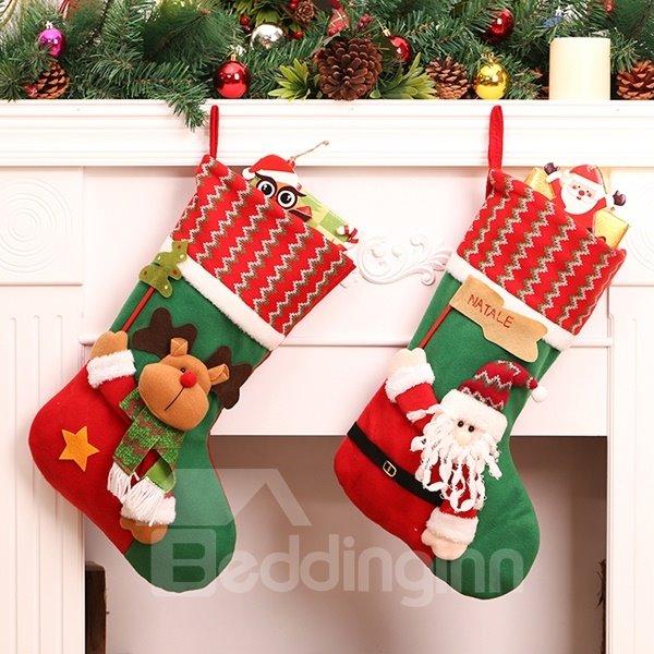 Lovely Christmas Decorative Santa Claus Pattern Stocking Wall Decors
