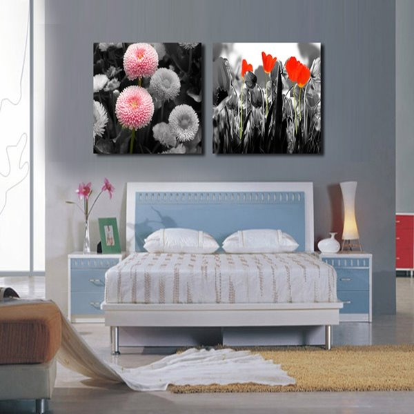 Red and Pink Flower Pattern Home Decorative 2 Pieces None framed Wall Art Prints
