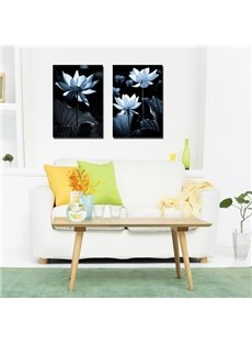 Black Square Lotus Pattern 2 Pieces None Framed Canvas Wall Art Prints