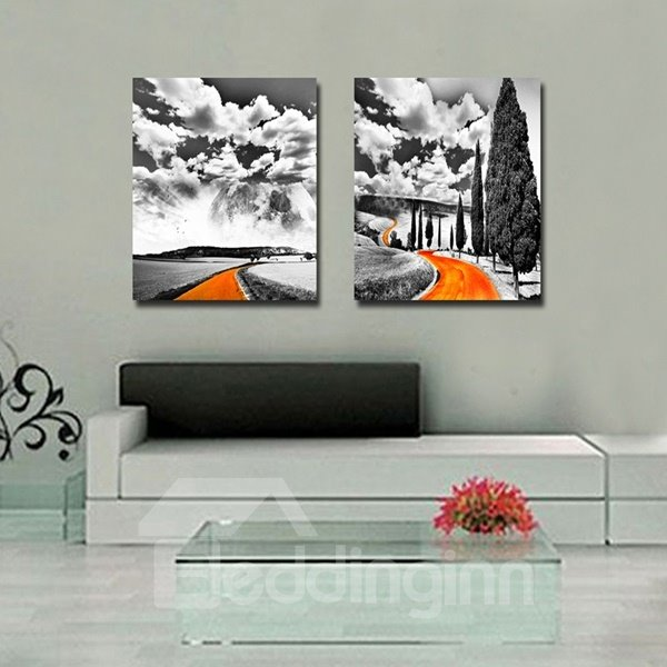 White Cloud and Road Pattern Home Decorative None Framed Wall Art Prints