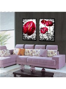 Decorative Square Red Moth Orchid Flower Pattern None Framed Wall Art Prints