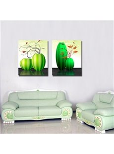 Modern Creative Flower and Green Vase Pattern None Framed Wall Art Prints