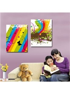 Colorful Painting and Butterfly Pattern 2 Pieces None Framed Wall Art Prints