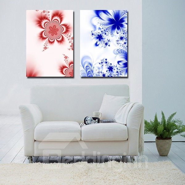 Blue and Red Flower Pattern 2 Pieces Decorative Wall Art Prints