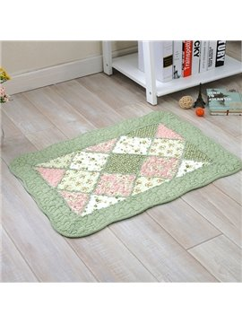Country Style Rectangle Handmade Quilting Seam Flower Pattern Doormat