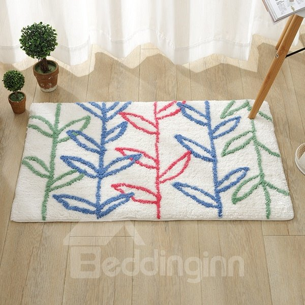 White Rectangle Embossment Beautiful Plant Pattern Slip Resistant Doormat