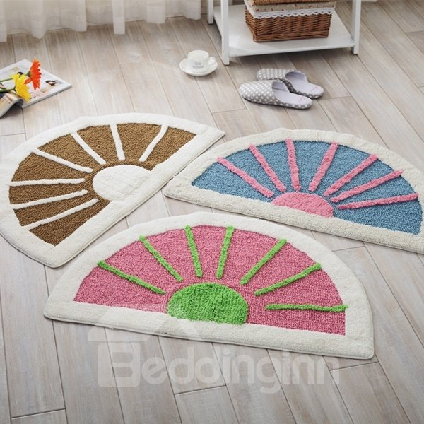 Lovely Semicircle Cotton Chenille Sunshine Pattern Slip Resistant Doormat