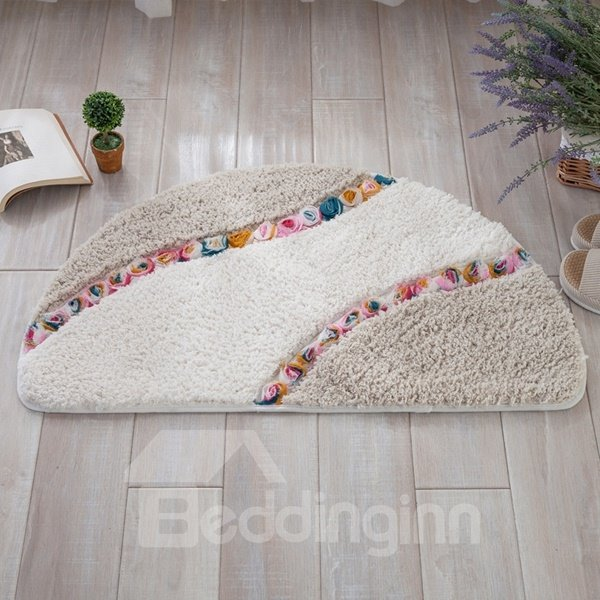 Semicircle Three-dimensional Flower Pattern Design Slip Resistant Decorative Doormat