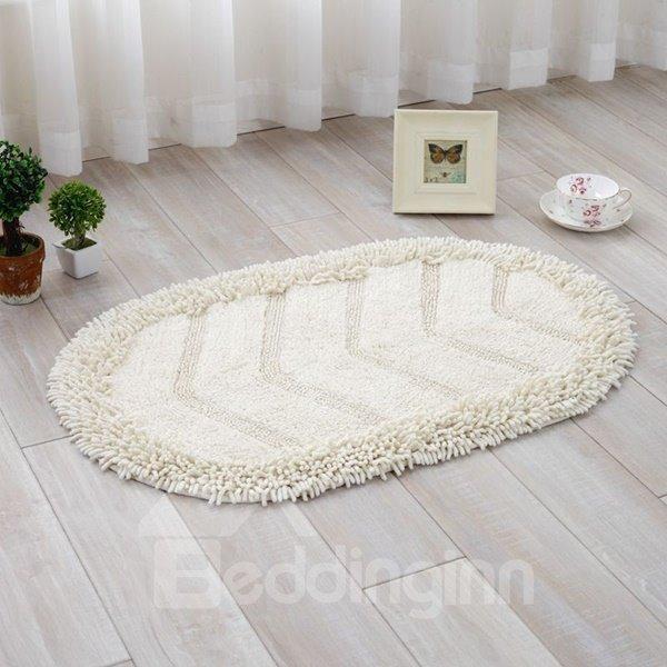 Simple Style Oval Shape Cotton Chenille 5 Colors Decorative Slip Resistant Doormat