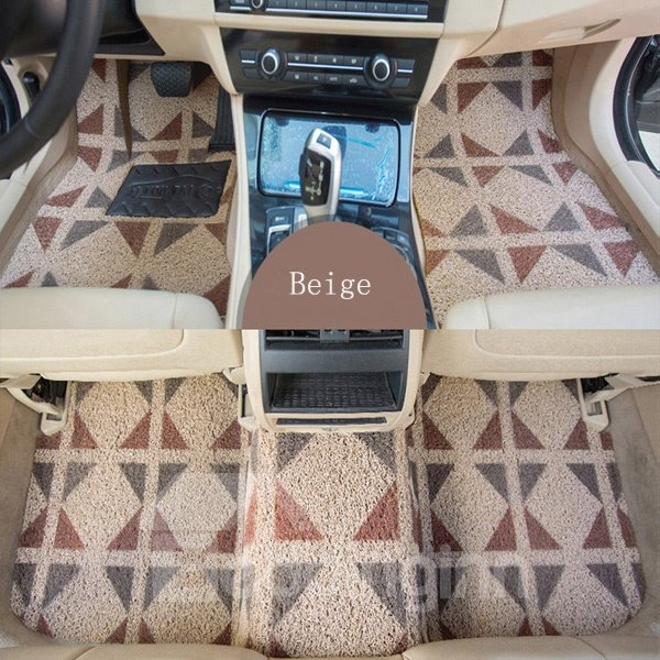Anti-Slip And Easy To Clean Fashion Beige Truck SUV Floor Mats Front & Rear Car Carpet