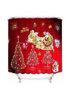 Cute Santa Riding Reindeer and Christmas Tree Printing Bathroom 3D Shower Curtain