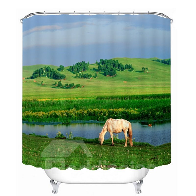 Sheep Eating Grass by the Lake Printing Bathroom 3D Shower Curtain