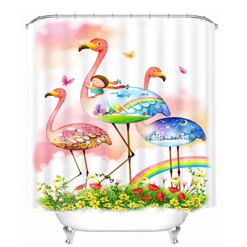 Cartoon Girl Riding Flamingo Printing Bathroom 3D Shower Curtain