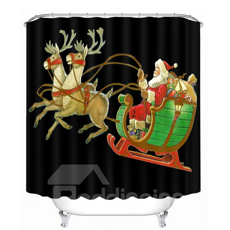 Cartoon Santa Riding Reindeer Printing Christmas Theme Bathroom 3D Black Shower Curtain