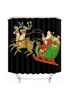 Cartoon Santa Riding Reindeer Printing Christmas Theme Bathroom 3D Black Shower Curtain