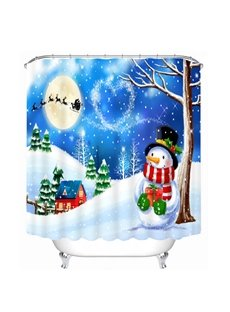 Cartoon Snowman under the Tree Printing Christmas Theme Bathroom 3D Shower Curtain
