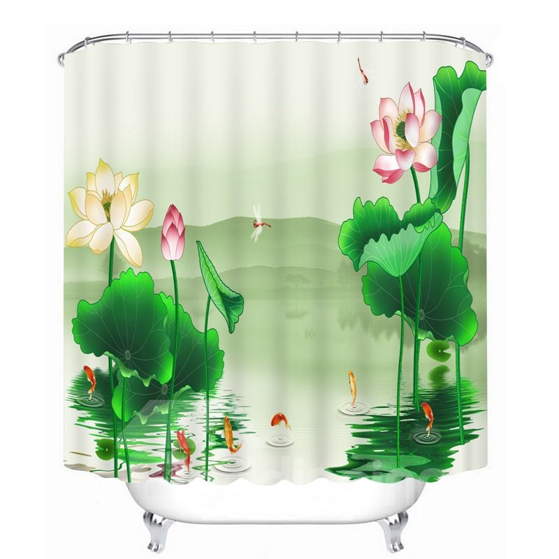 Art Painting Water Lily Printing Bathroom 3D Shower Curtain