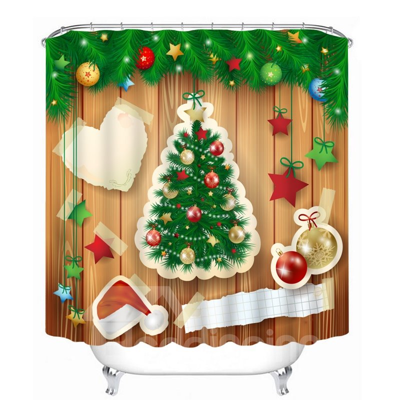 Creative Applique Christmas Tree and Decor Printing Printing Christmas Theme Bathroom 3D Shower Curtain