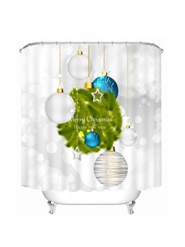 White and Blue Christmas Lighting Decor Printing Christmas Theme Bathroom 3D Shower Curtain