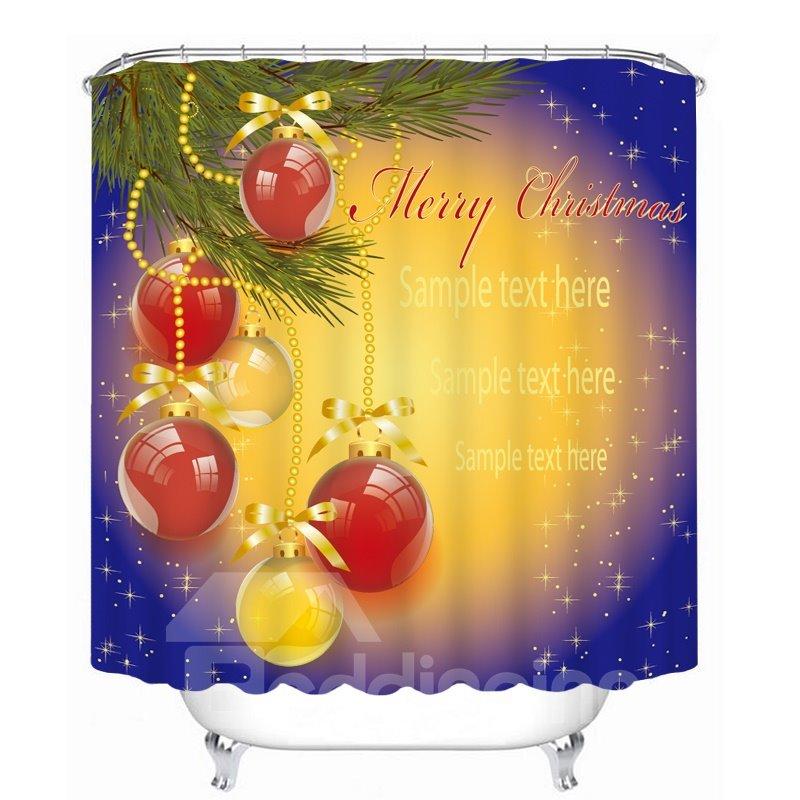 Red Christmas Ball Decor Printing Bathroom 3D Shower Curtain