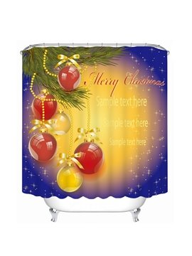 Red Christmas Ball Decor Printing Bathroom 3D Shower Curtain