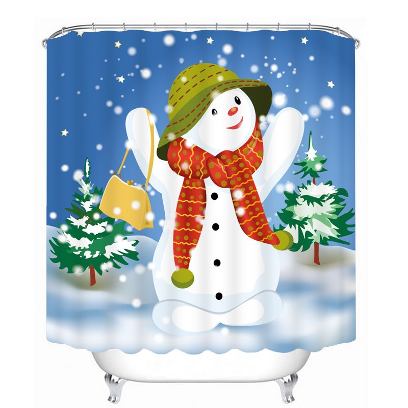 Cheerful Snowman With Red Scarf Printing Bathroom 3D
