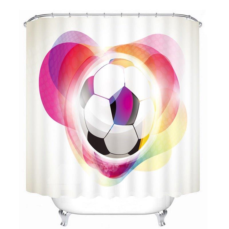 Cartoon Soccer with Color Printing Bathroom 3D Shower Curtain
