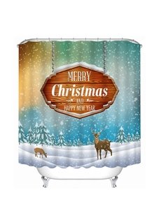 Reindeer in the Snow Printing Christmas Theme Bathroom 3D Shower Curtain