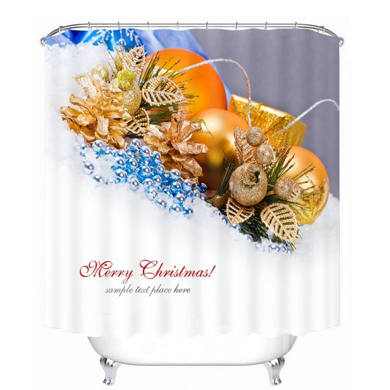Golden Christmas Balls Decor Printing Christmas Theme Bathroom 3D Shower Curtain