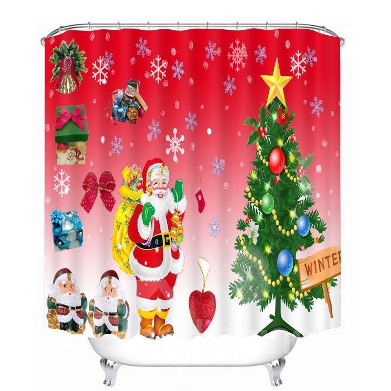 Cartoon Santa Standing near Christmas Tree Wave Printing Bathroom 3D Shower Curtain