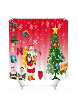 Cartoon Santa Standing near Christmas Tree Wave Printing Bathroom 3D Shower Curtain