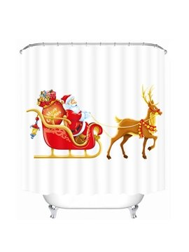 Cartoon Santa Riding Reindeer with Gifts Printing Christmas Theme Bathroom 3D Shower Curtain
