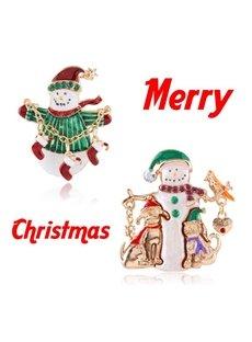 Christmas Style Snowman Design Brooch