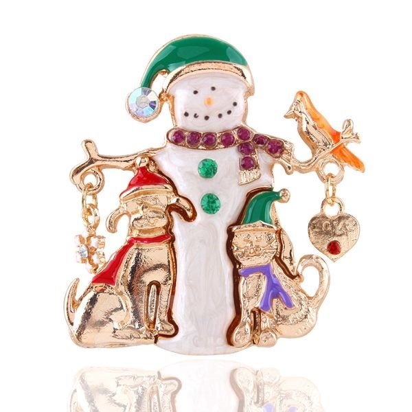 Christmas Style Snowman Design Brooch