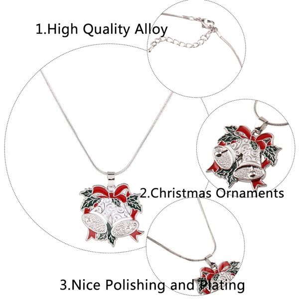 Christmas Style Christmas Garland and Christmas Bell Pendant Necklace