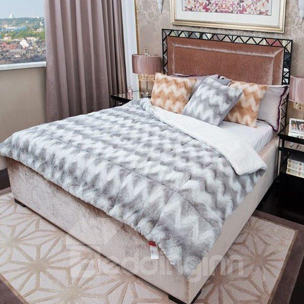 Fancy Light Gray Comfortable Plush Chevron Quilt
