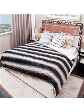 Unique Black and White Stripes Soft Plush Quilt