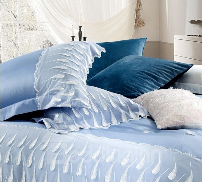 Dreamy Feather Embroidery Blue Long-staple Cotton 4-Piece Duvet Cover Sets
