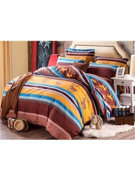 Fancy Christmas Elk and Stripes Print Cotton 4-Piece Duvet Cover Sets