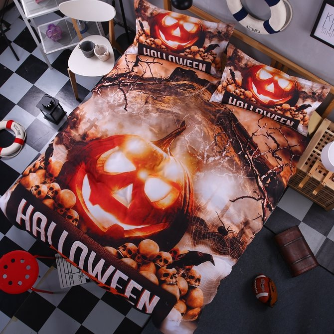Chic Halloween Pumpkin Print 4-Piece Polyester Duvet Cover Sets