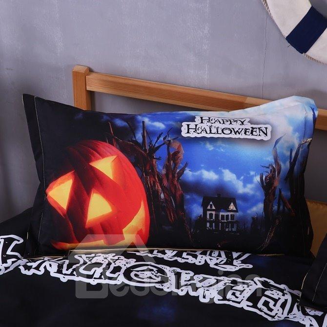 Unique Halloween Pumpkin Print Blue 4-Piece Polyester Duvet Cover Sets