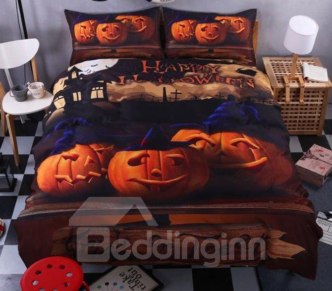 Lovely 3D Halloween Pumpkins Printed 4-Piece Polyester Duvet Cover Sets
