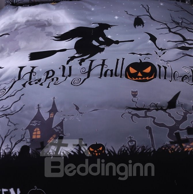 Personalized Halloween Witch Printed 4-Piece Polyester Duvet Cover Sets