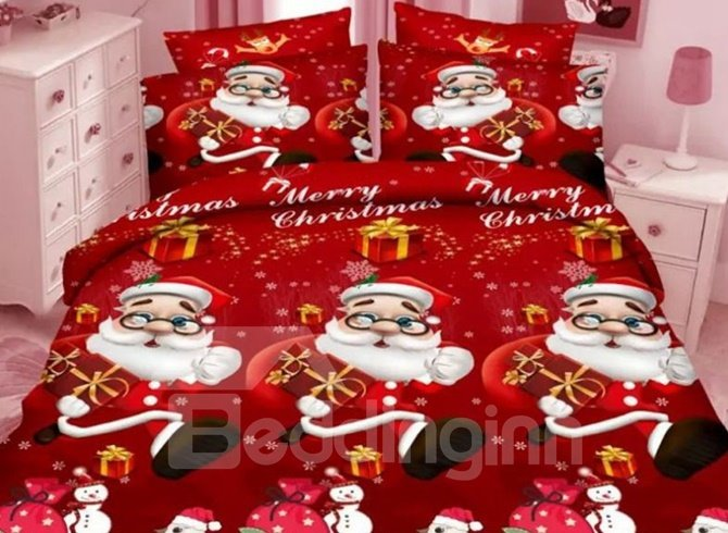 Lovely Christmas 3D Santa Printed 4-Piece Polyester Duvet Cover Sets