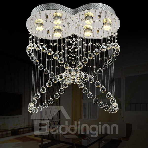 Delicate Decorative Crystal Butterfly Shape 6 Bulbs Energy Saving Flush Mount