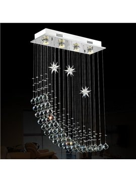 Gorgeous Dreamy Moon and Star Shape 4 Bulbs LED Flush Mount