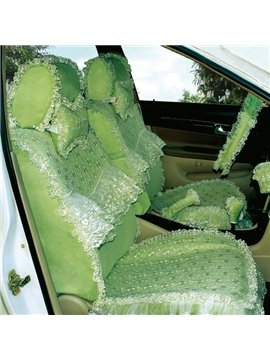 Bright Green Fashion Color Lace Decorate Design Attractive Car Seat Cover
