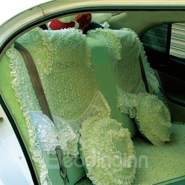 Bright Green Fashion Color Lace Decorate Design Attractive Car Seat Cover